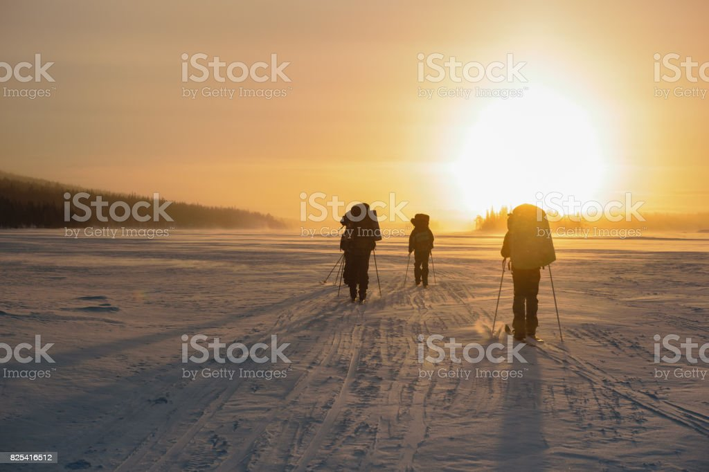 Tourists in Russian Lapland, Kola Peninsula стоковое фото