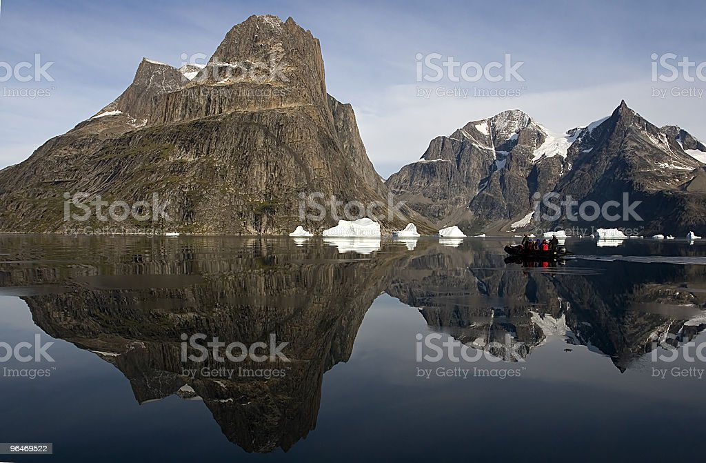 Tourists in Sermilik Fjord royalty-free stock photo