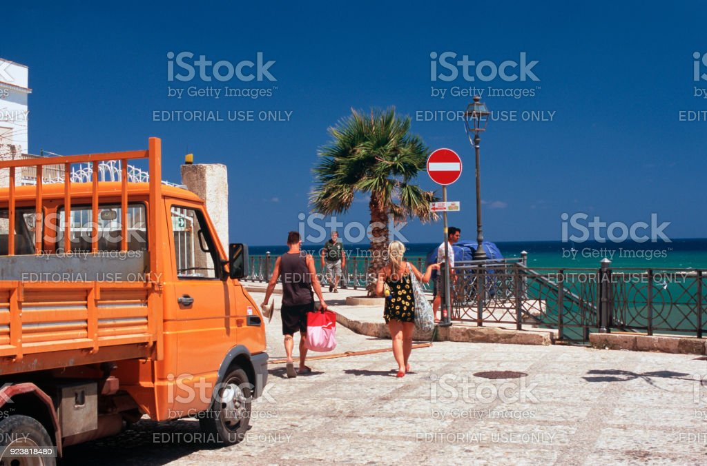 tourists in Sicily stock photo
