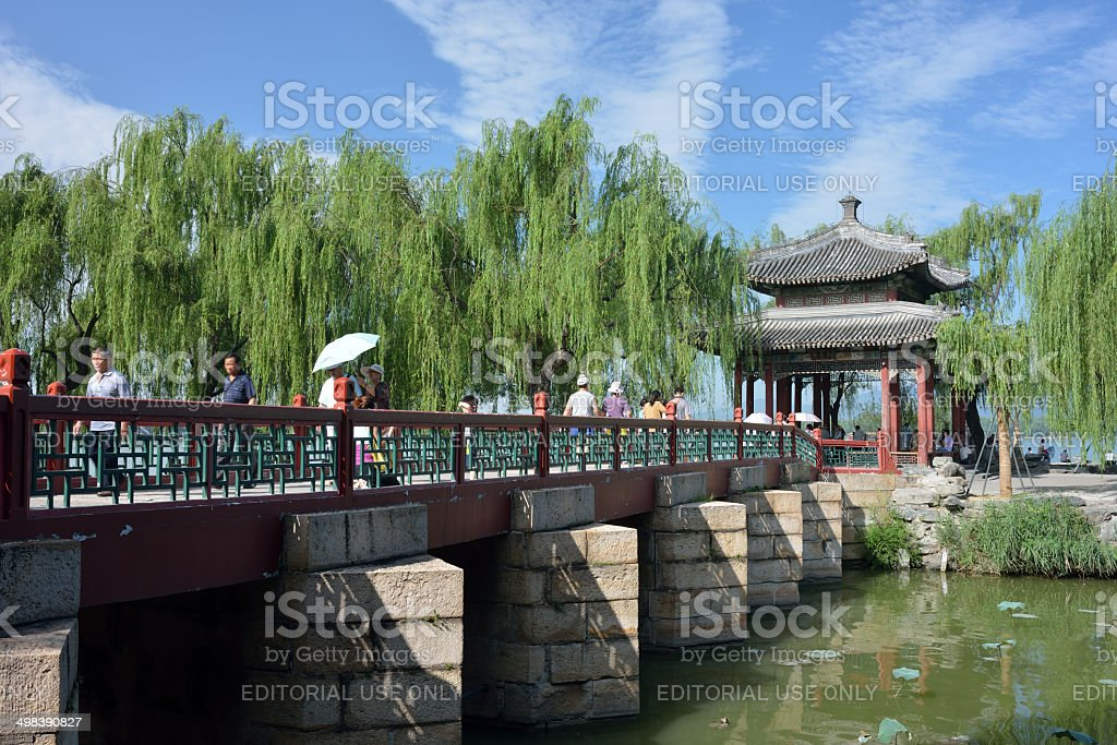 Tourists in Summer Palace stock photo