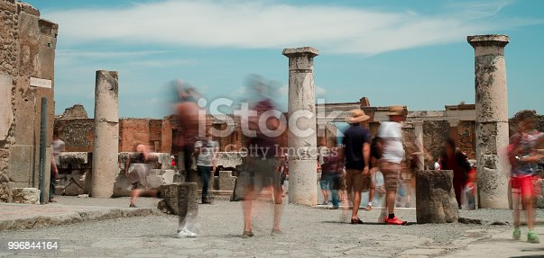 tourists in slow motion in the ancient ruins of the forum in pompeii