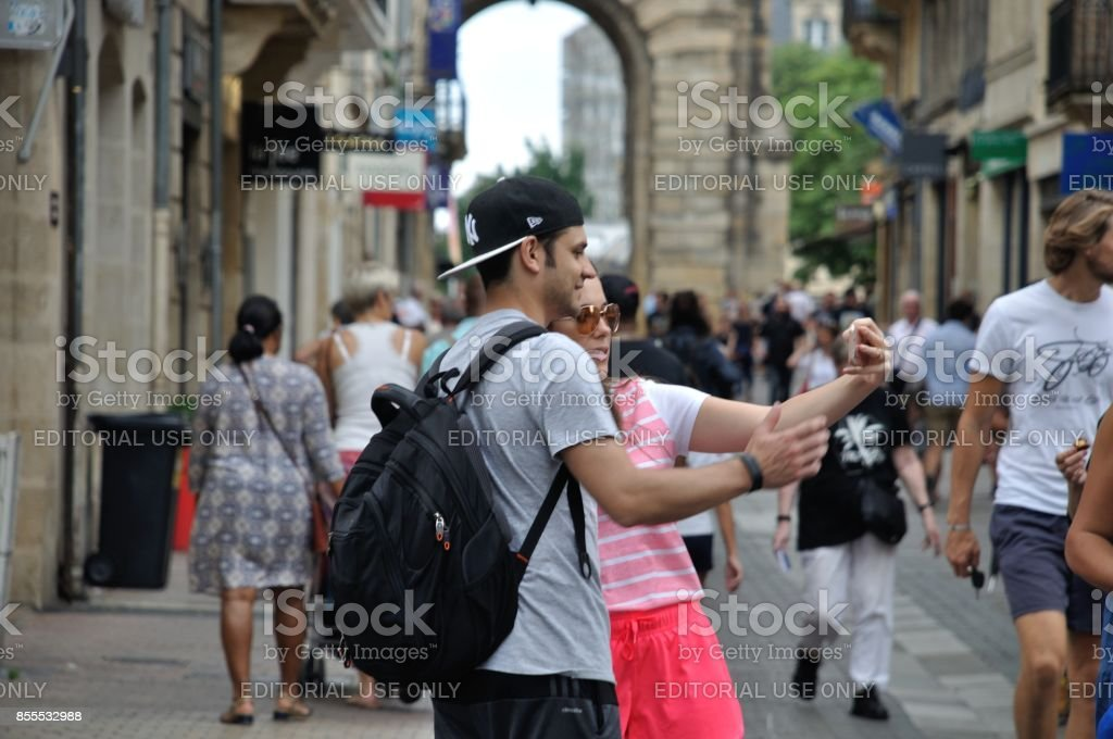 Tourists in the city center of Bordeaux stock photo