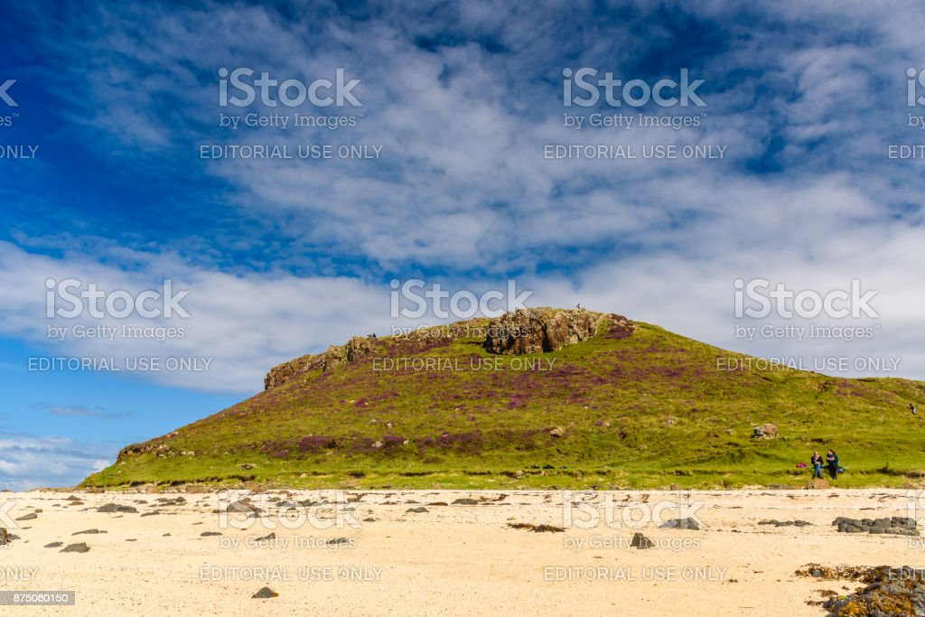 Tourists in the Coral Beach in Scotland stock photo