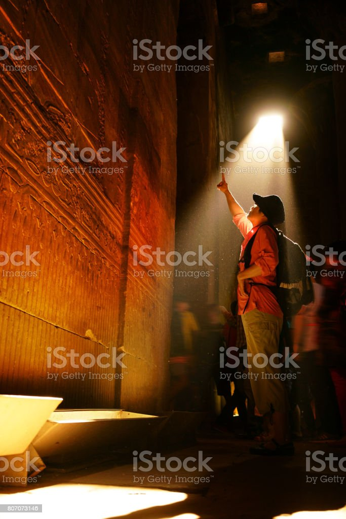 Tourists in the Egyptian Fiesta Temple stock photo