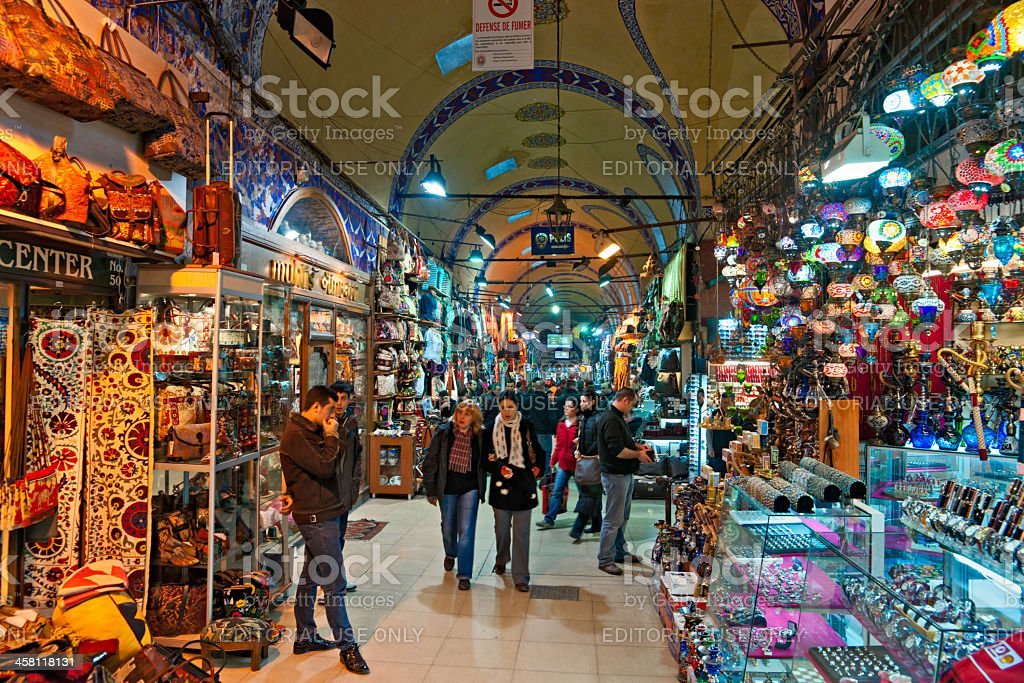 Tourists in the grand Bazaar, Istanbul. royalty-free stock photo