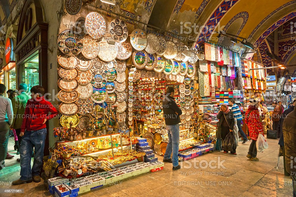 Tourists in the grand Bazaar, Istanbul. stock photo