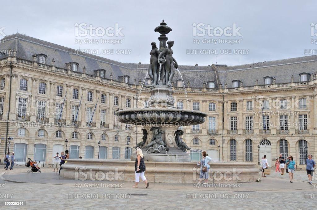 Tourists in the Place de la Bourse in Bordeaux stock photo