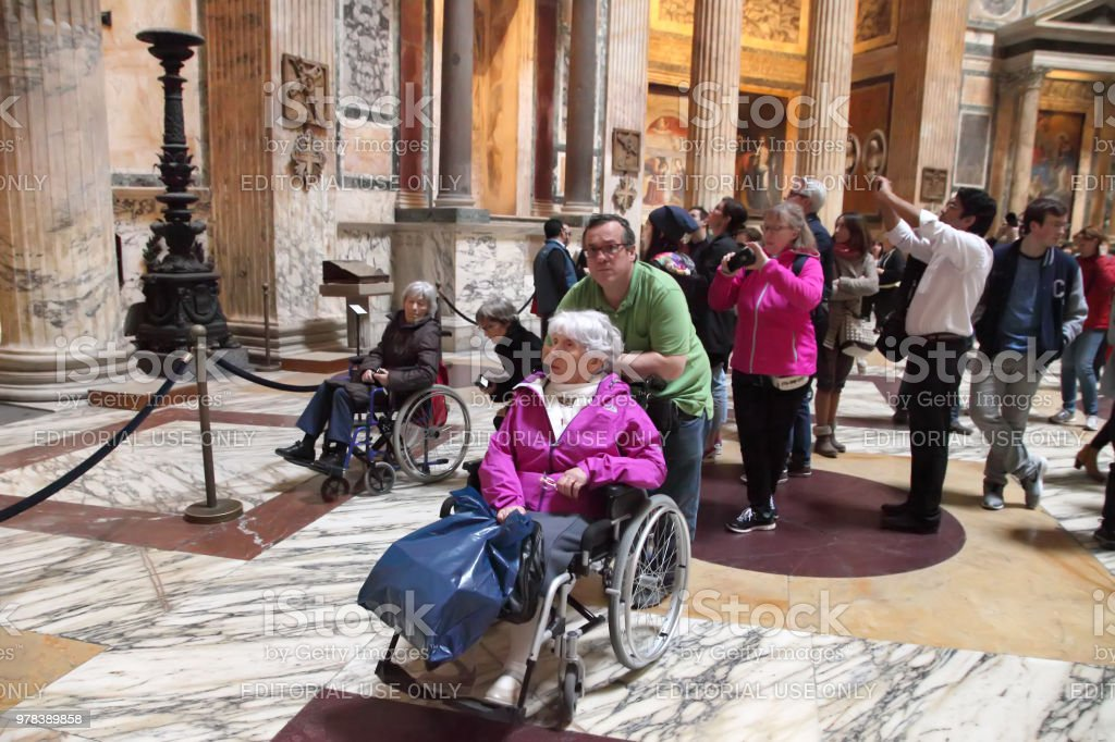 Tourists in the Roman Pantheon,  Rome, Italy. stock photo