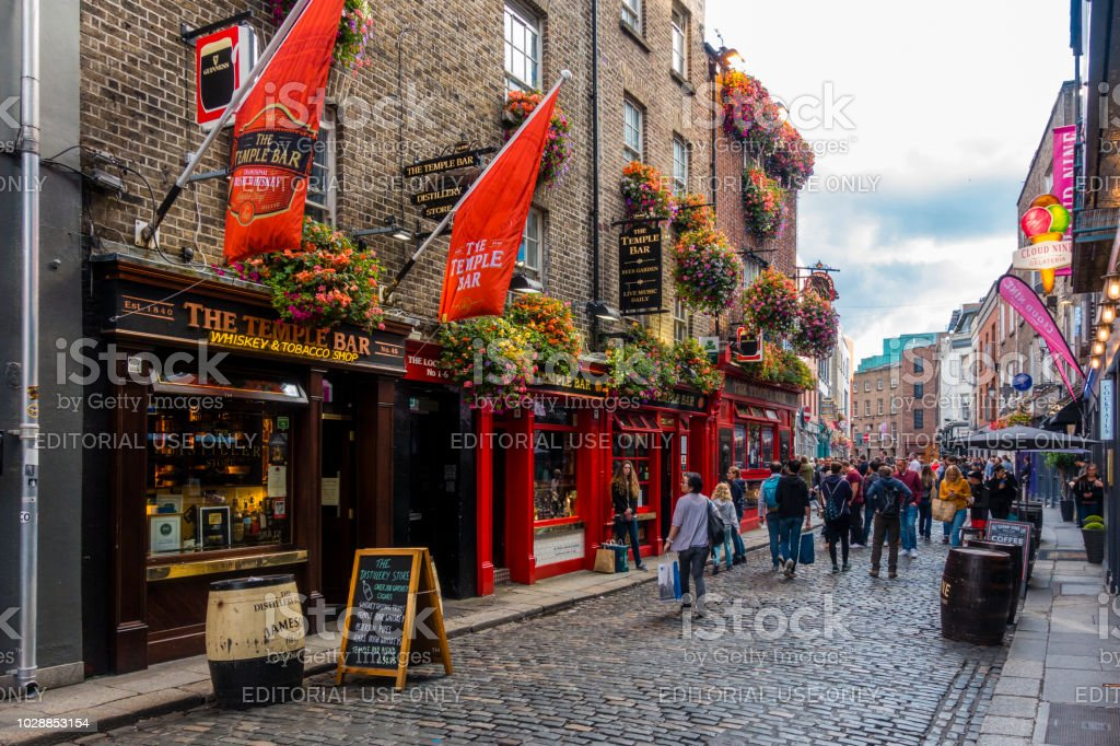 tourists in the Temple Bar area in Dublin stock photo