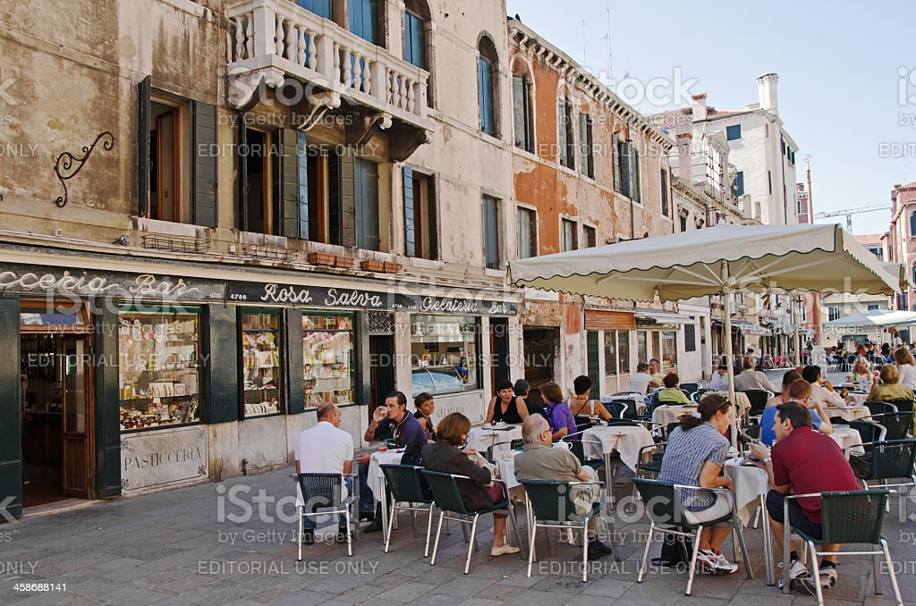 Tourists in Venice Gelateria royalty-free stock photo