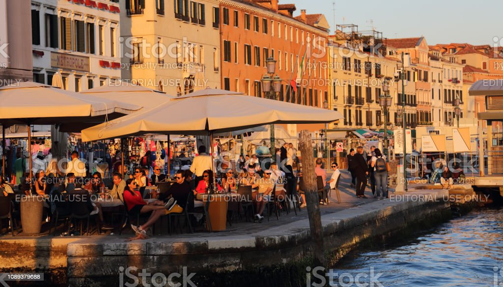 Tourists in Venice, Italy stock photo
