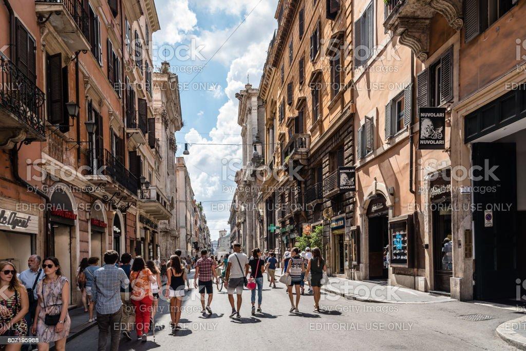 Tourists in Via del Corso stock photo