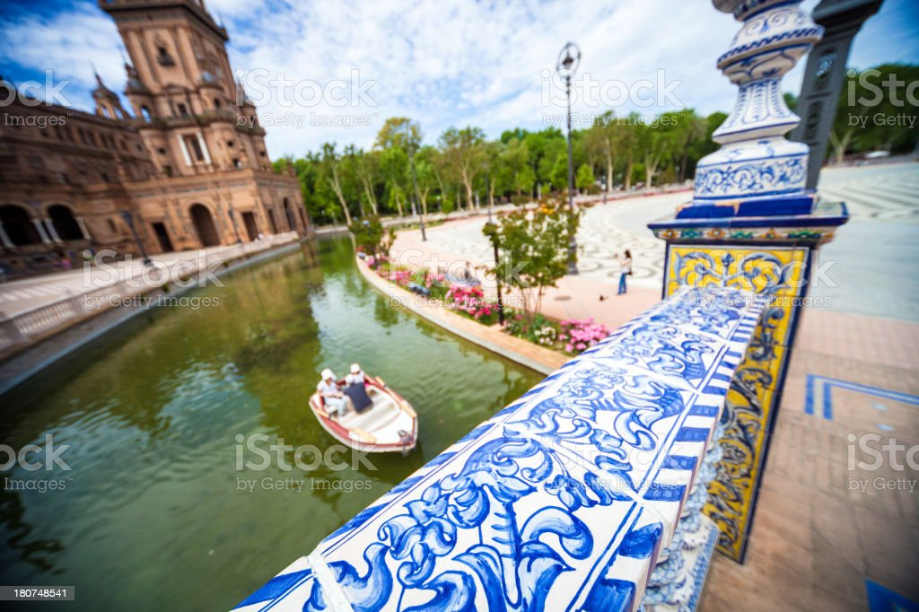 Tourists in visit on the famouse Seville's town square royalty-free stock photo