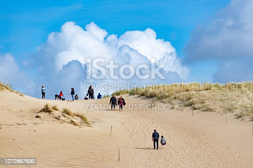 Tourists in wonderful Nagliai Nature Reserve in Neringa, Lithuania. Dead dunes, sand hills built by strong winds, with ravines and erosion