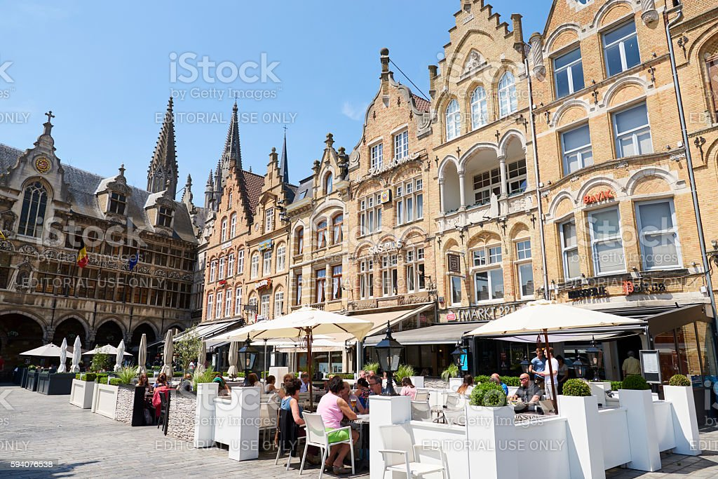 Tourists in Ypres stock photo