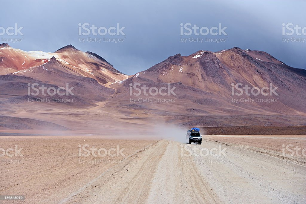 Tourist's jeep on the Bolivian Altiplano royalty-free stock photo
