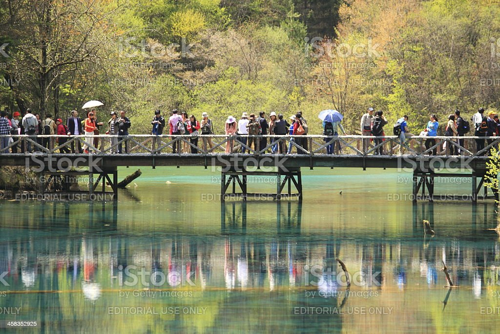 Tourists Jiuzhaigou National Park China royalty-free stock photo