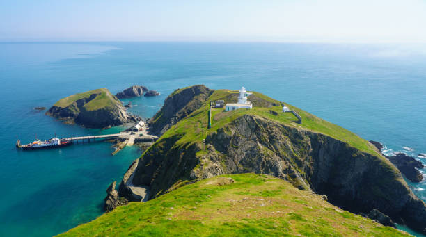 Tourists land from MS Oldenburg on Lundy Island in Devon stock photo