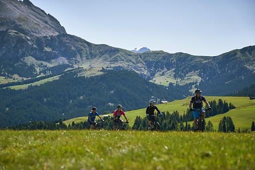 istock Tourists mountain biking on the Seiser Alm (Alpe di Siusi in Italian) during Summer. 1221039071