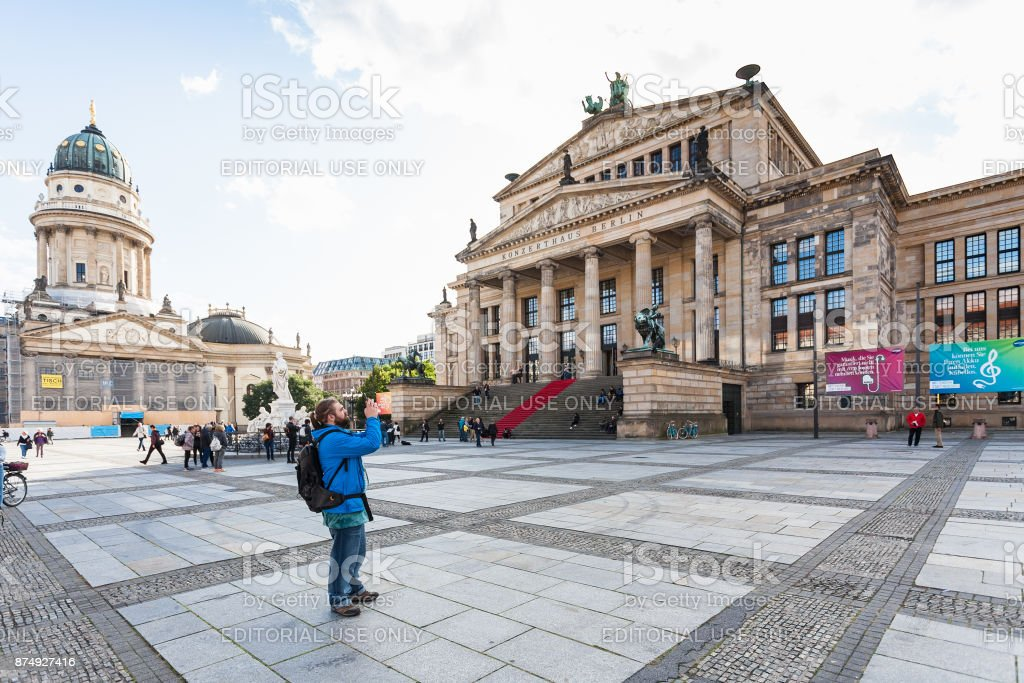 Tourists near Concert Hall in Berlin stock photo