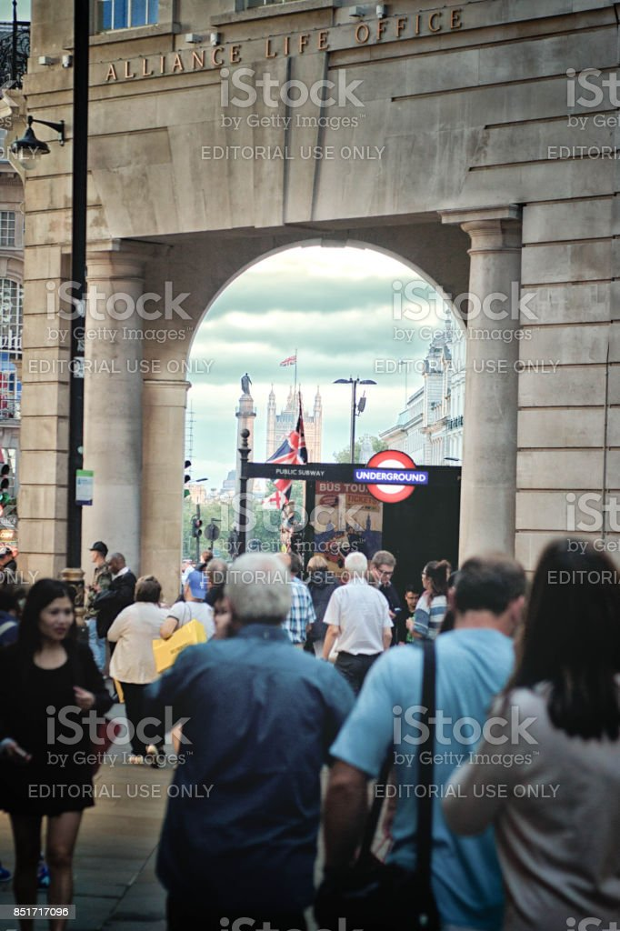 Tourists near Houses of Parliament stock photo