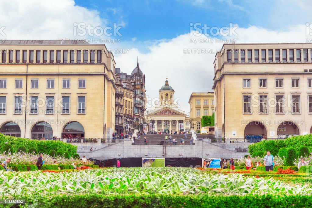Tourists near  Kunstberg or Mont des Arts (Mount of the arts) with park and  Equestrian monument of King Albert I. stock photo