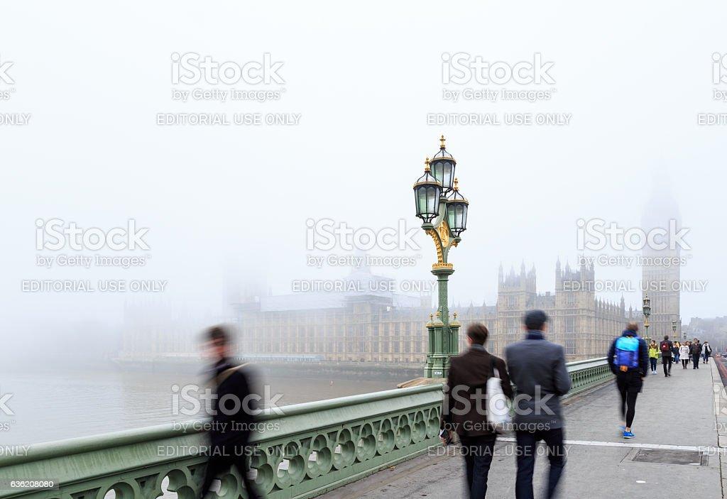Tourists near Palace Of Westminster, London. stock photo