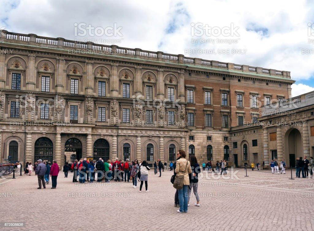 Tourists near the Royal Palace, Stockholm stock photo