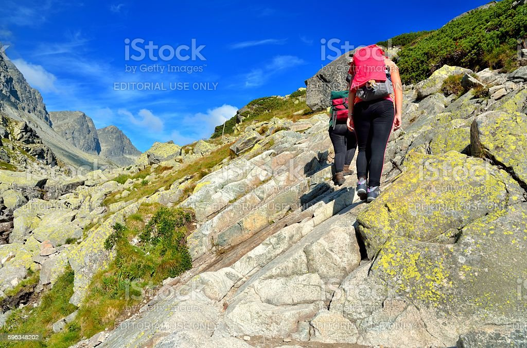 Tourists on a rocky trail. royalty-free stock photo