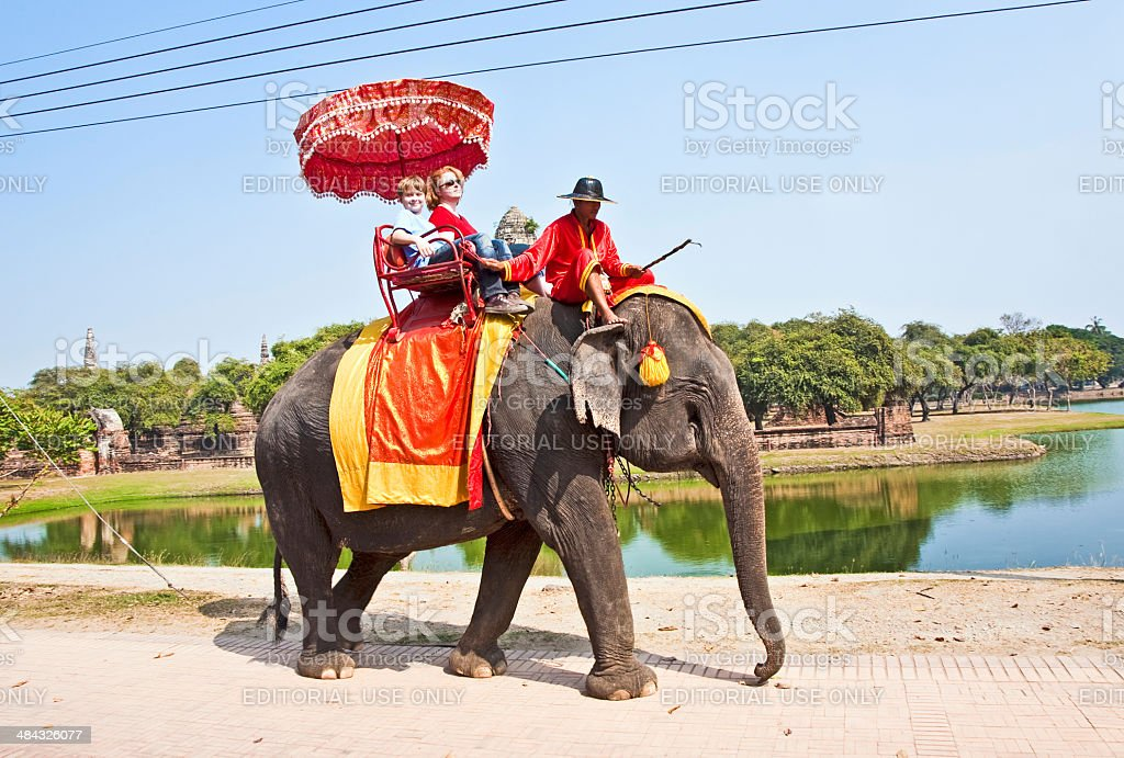 tourists on an elefant ride  in Ajutthaja stock photo