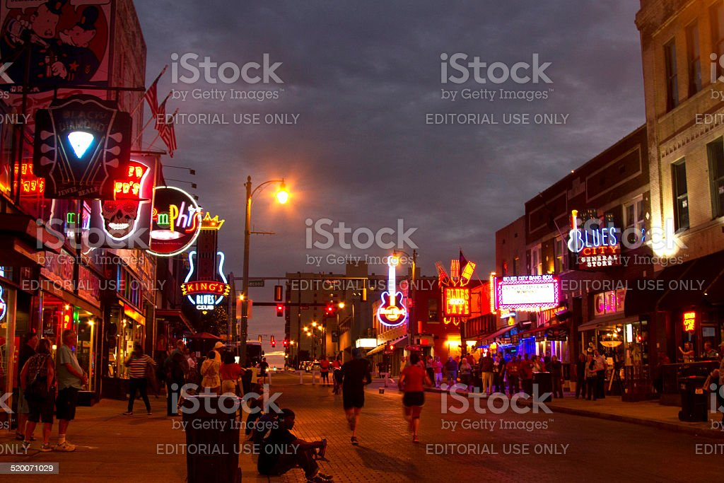 Tourists on Beale Street, Memphis stock photo