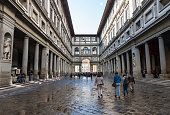 FLORENCE, ITALY, JANUARY - 2018 - Exterior view of famous uffizi gallery at florence city, Italy