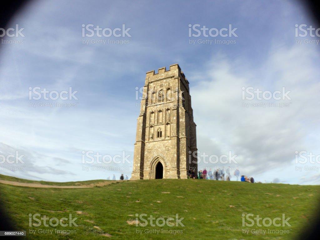 Tourists on Glastonbury Tor stock photo