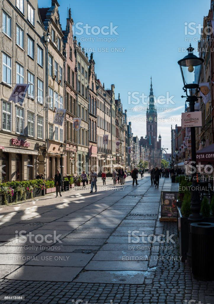 Tourists on Long Lane in Gdansk, Poland stock photo