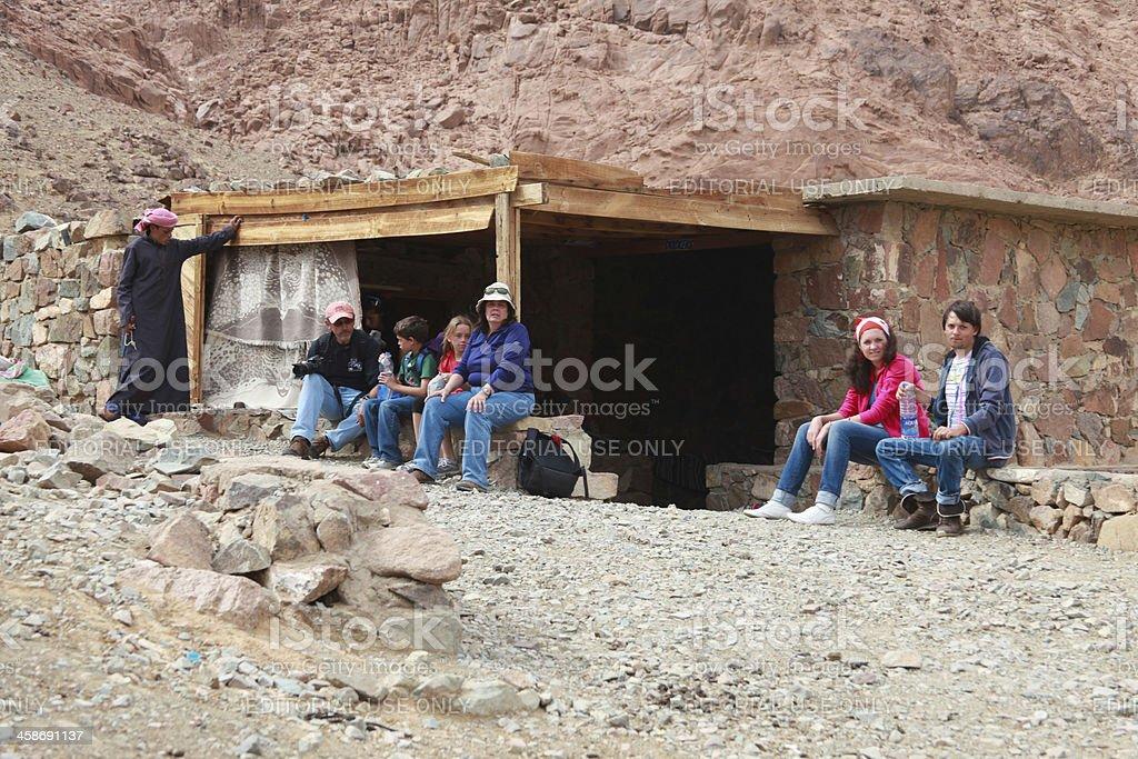tourists on mount sinai stock photo