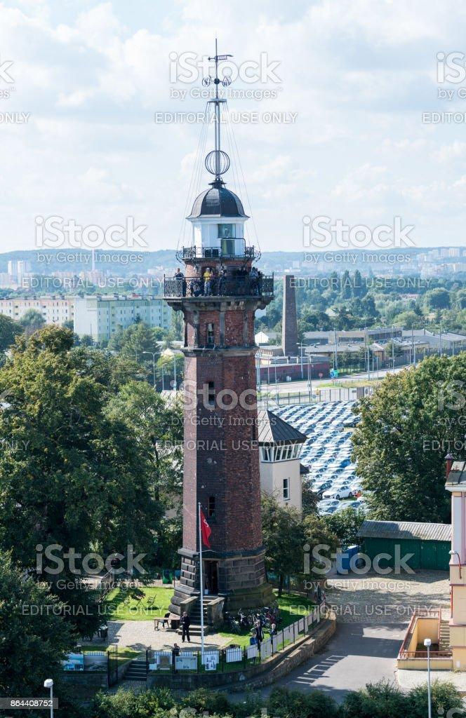 Tourists on Novy Port Lighthouse Gdansk stock photo