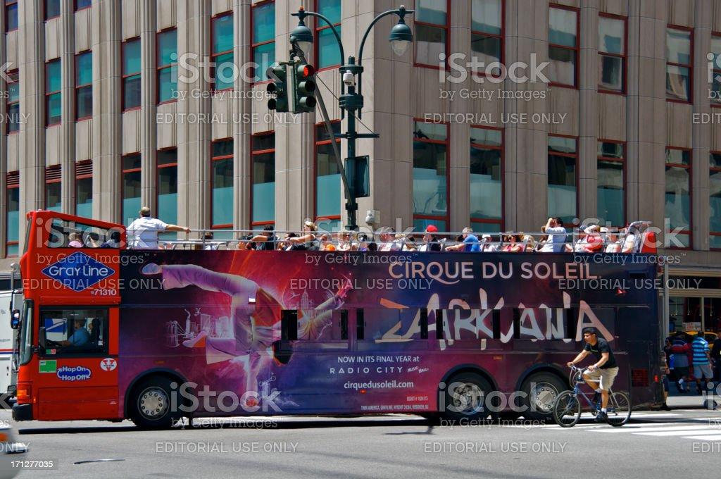 tourists on openair tour bus midtown manhattan new york
