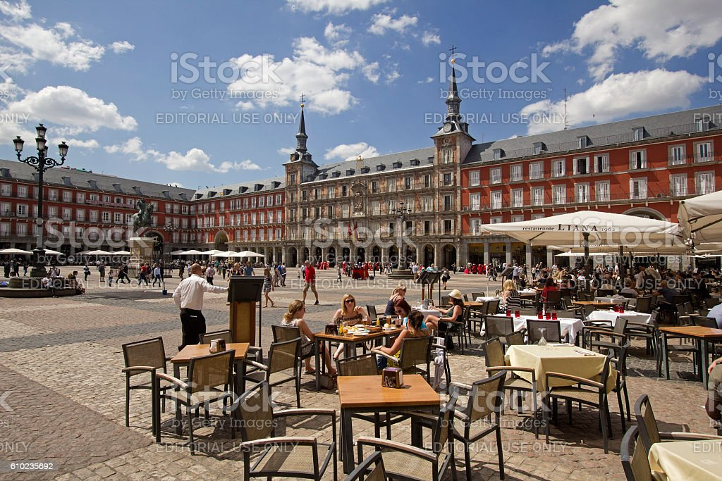 Tourists on Plaza Major in Madrid, Spain stock photo