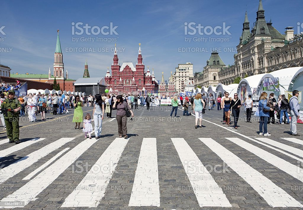 Tourists on Red Square in summer day royalty-free stock photo