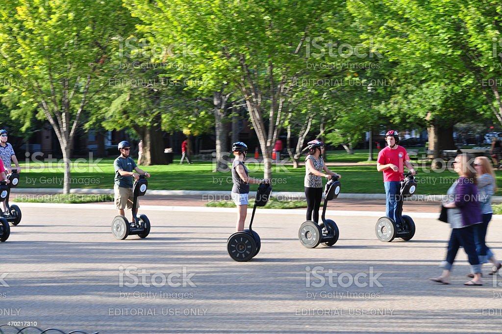 tourists on Segway stock photo