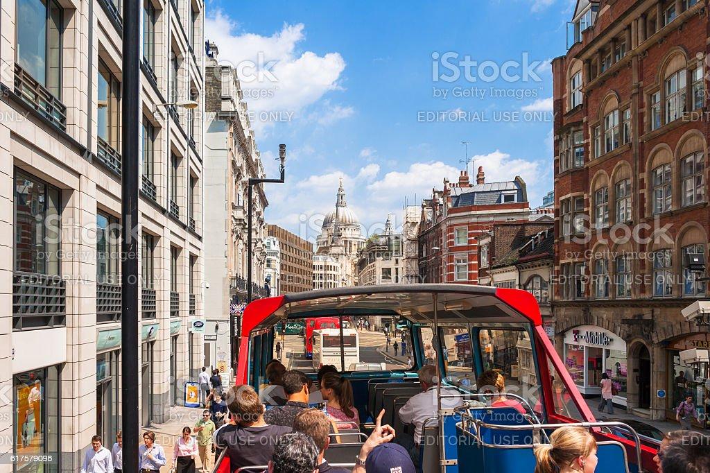 Tourists on sightseeing tour bus in Fleet street. London, UK stock photo