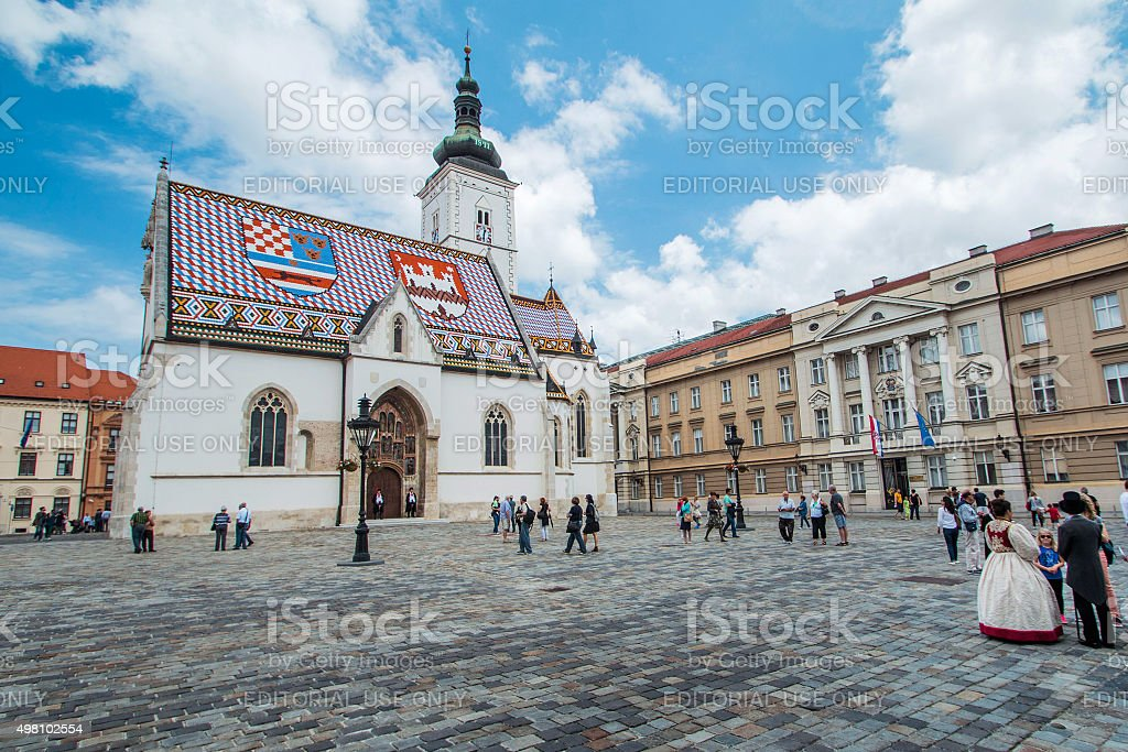 Tourists on St Mark's Square in Zagreb, Croatia stock photo