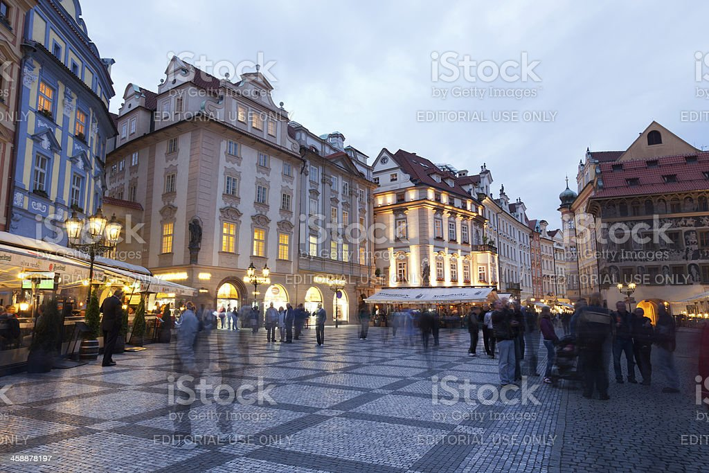 Tourists on the area in  evening  Prague royalty-free stock photo