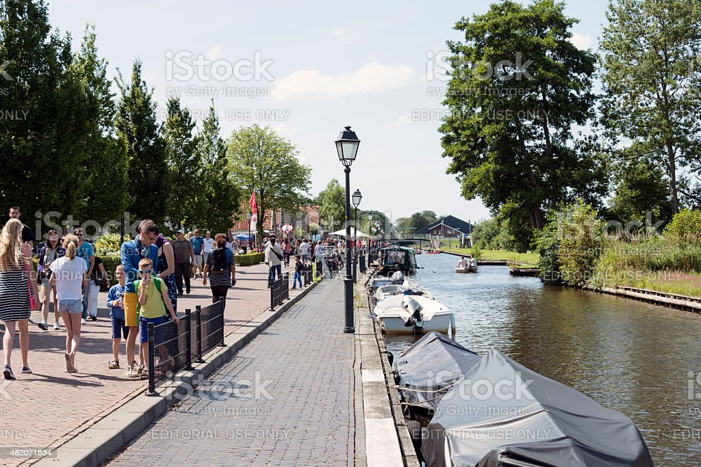tourists on the boat in Giethoorn royalty-free stock photo