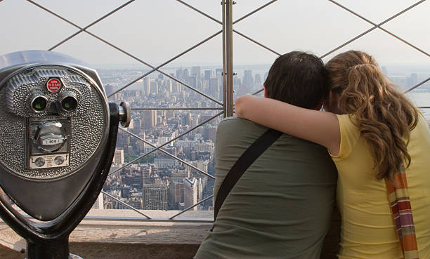 Tourists on the Empire State Building stock photo