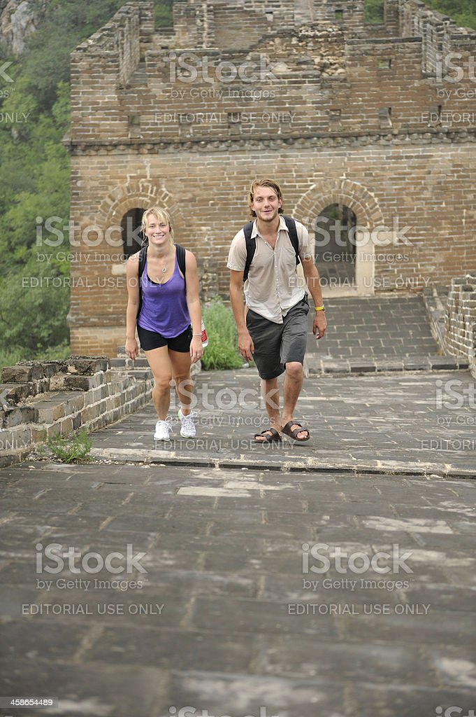 Tourists on the Great Wall of China royalty-free stock photo