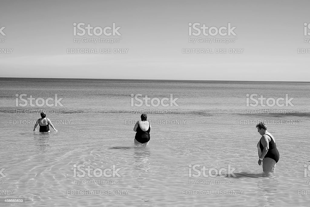 Tourists on the main beach in Sousse, Tunisia royalty-free stock photo
