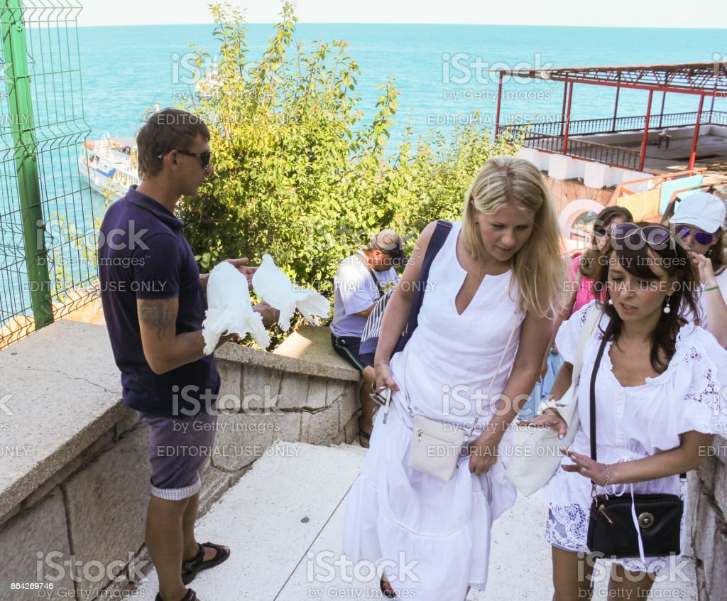 Tourists on the stairs. royalty-free stock photo