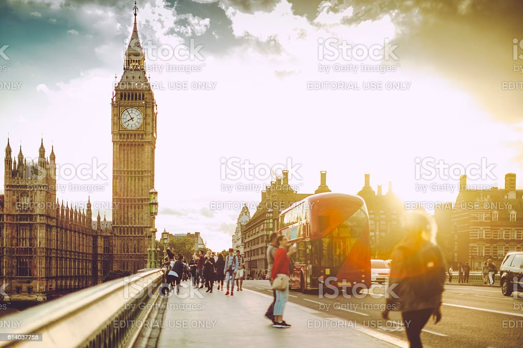 Tourists on the Westminster Bridge stock photo