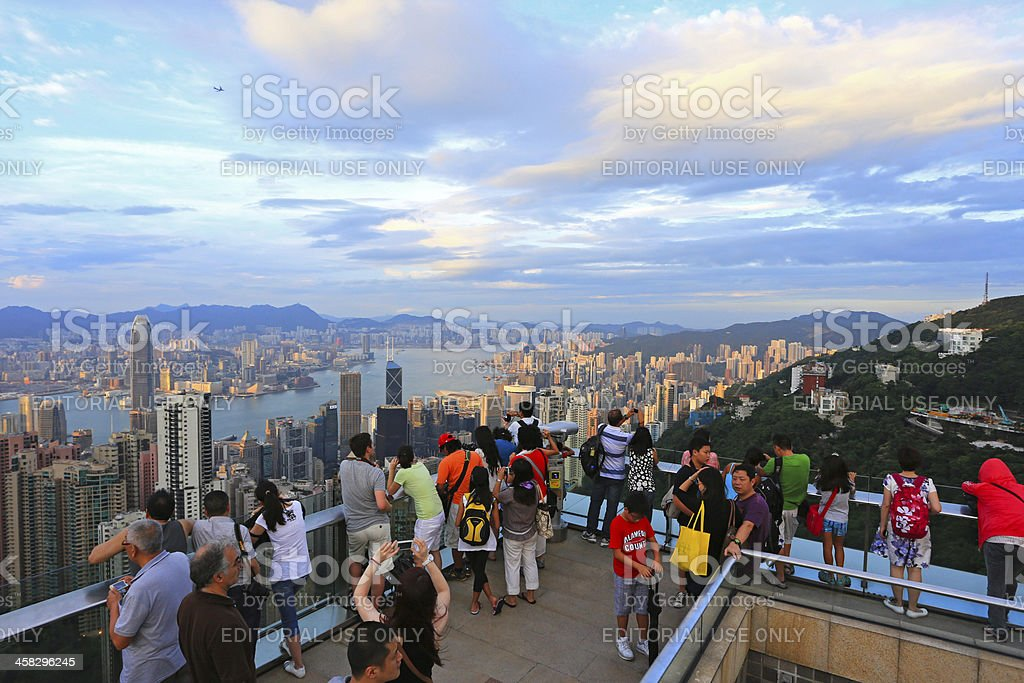 Tourists on top of the Peak Tower, Hong Kong stock photo